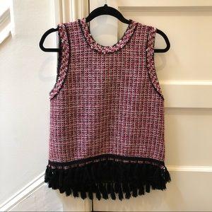Zara Tweed shell with tassel hem